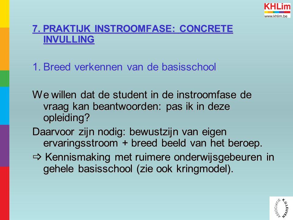 7. PRAKTIJK INSTROOMFASE: CONCRETE INVULLING 1.Breed verkennen van de basisschool We willen dat de student in de instroomfase de vraag kan beantwoorde