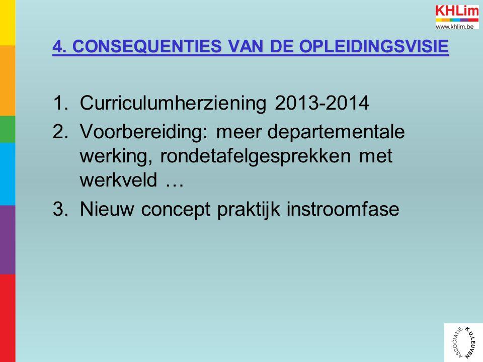 4. CONSEQUENTIES VAN DE OPLEIDINGSVISIE 1.Curriculumherziening 2013-2014 2.Voorbereiding: meer departementale werking, rondetafelgesprekken met werkve