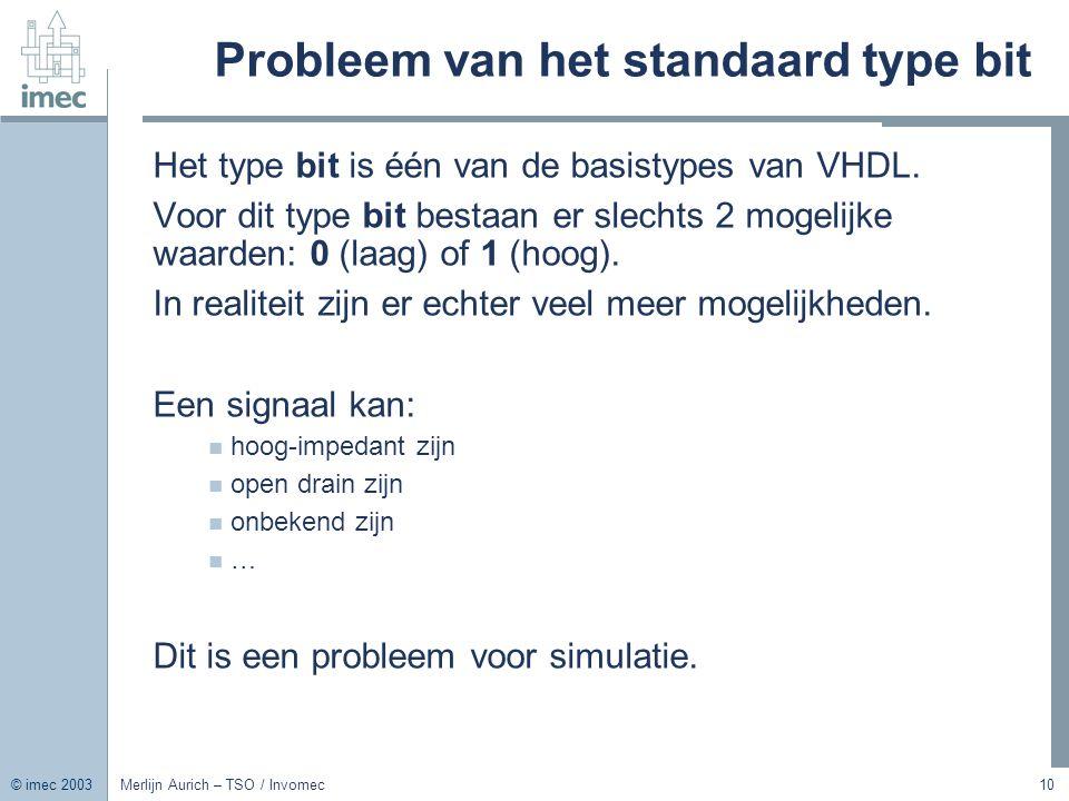 © imec 2003 Merlijn Aurich – TSO / Invomec10 Probleem van het standaard type bit Het type bit is één van de basistypes van VHDL. Voor dit type bit bes