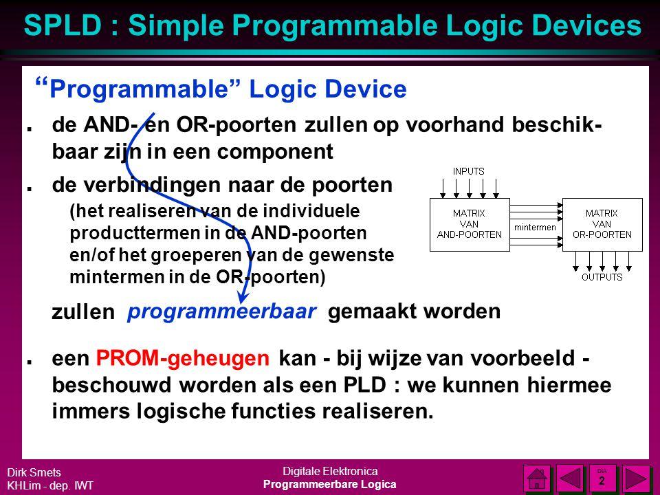 SPLD : Simple Programmable Logic Devices Dirk Smets KHLim - dep. IWT Digitale Elektronica Programmeerbare Logica DIA 1 DIA 1 Logische functie n Elke l