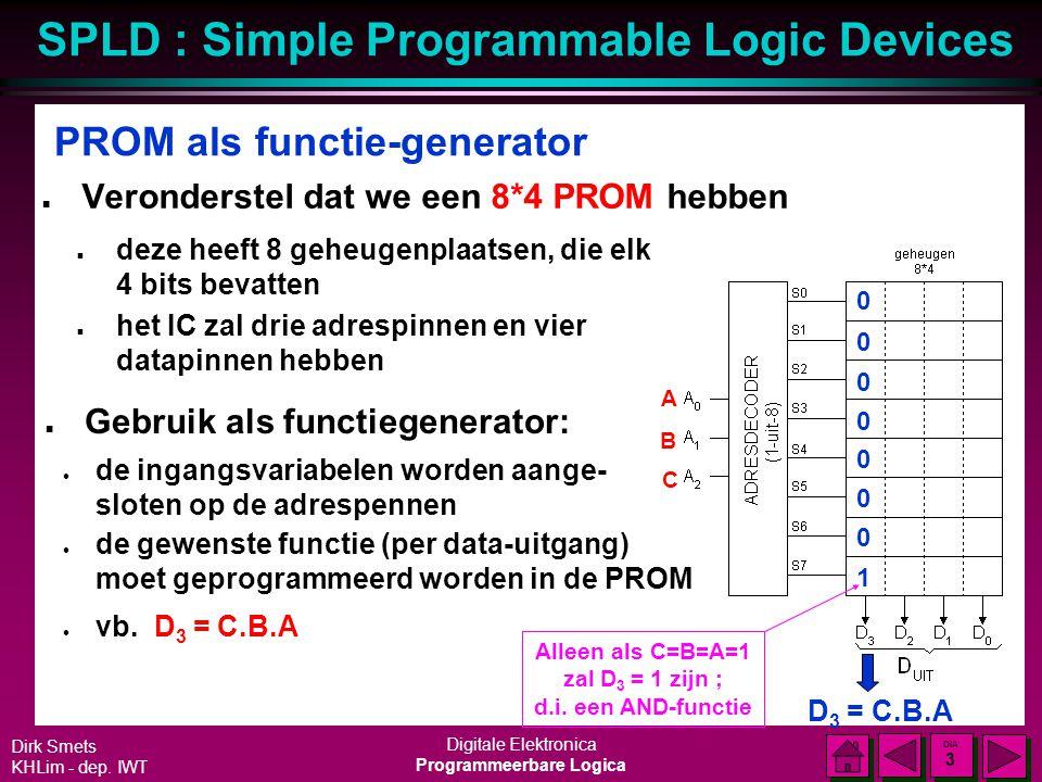 "SPLD : Simple Programmable Logic Devices Dirk Smets KHLim - dep. IWT Digitale Elektronica Programmeerbare Logica DIA 2 DIA 2 "" Programmable"" Logic Dev"
