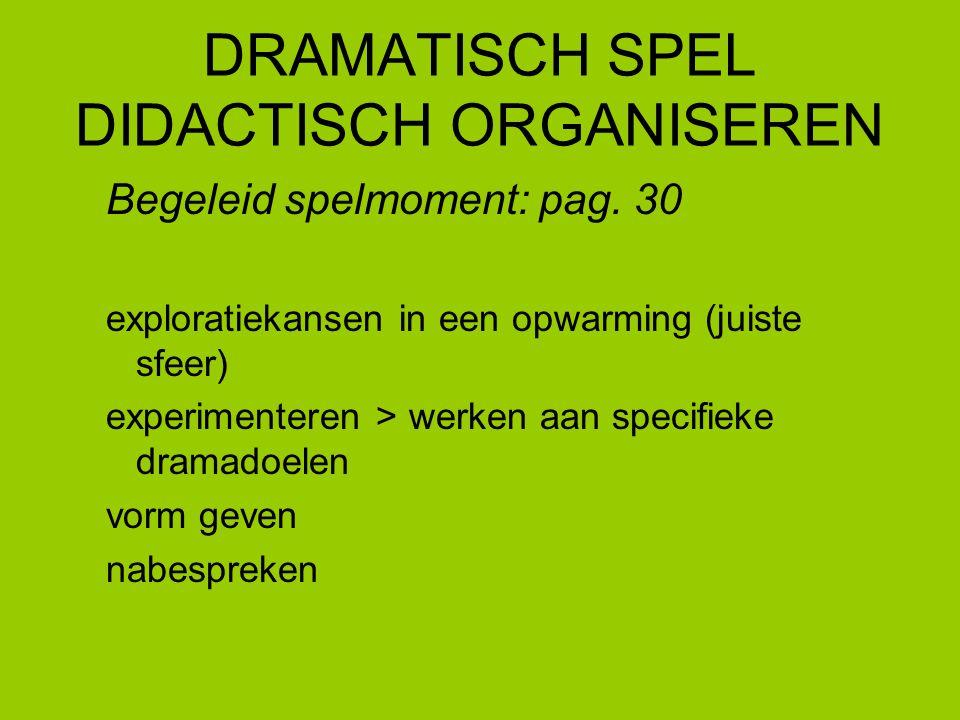 DRAMATISCH SPEL DIDACTISCH ORGANISEREN Begeleid spelmoment: pag. 30 exploratiekansen in een opwarming (juiste sfeer) experimenteren > werken aan speci