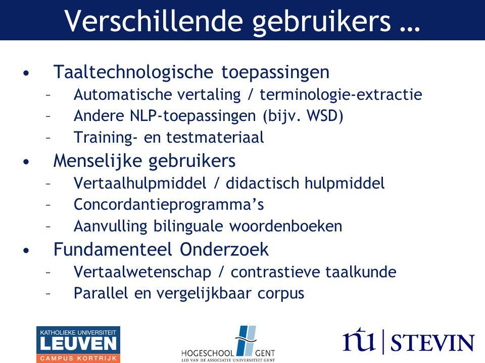 Verschillende gebruikers … Taaltechnologische toepassingen –Automatische vertaling / terminologie-extractie –Andere NLP-toepassingen (bijv.