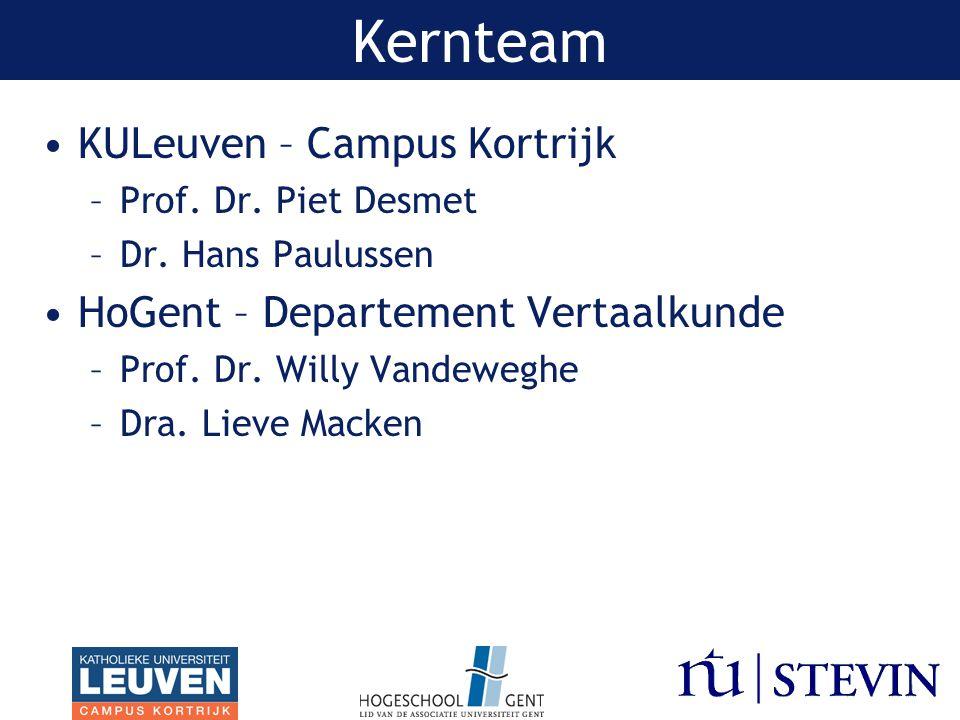 Kernteam KULeuven – Campus Kortrijk –Prof.Dr. Piet Desmet –Dr.