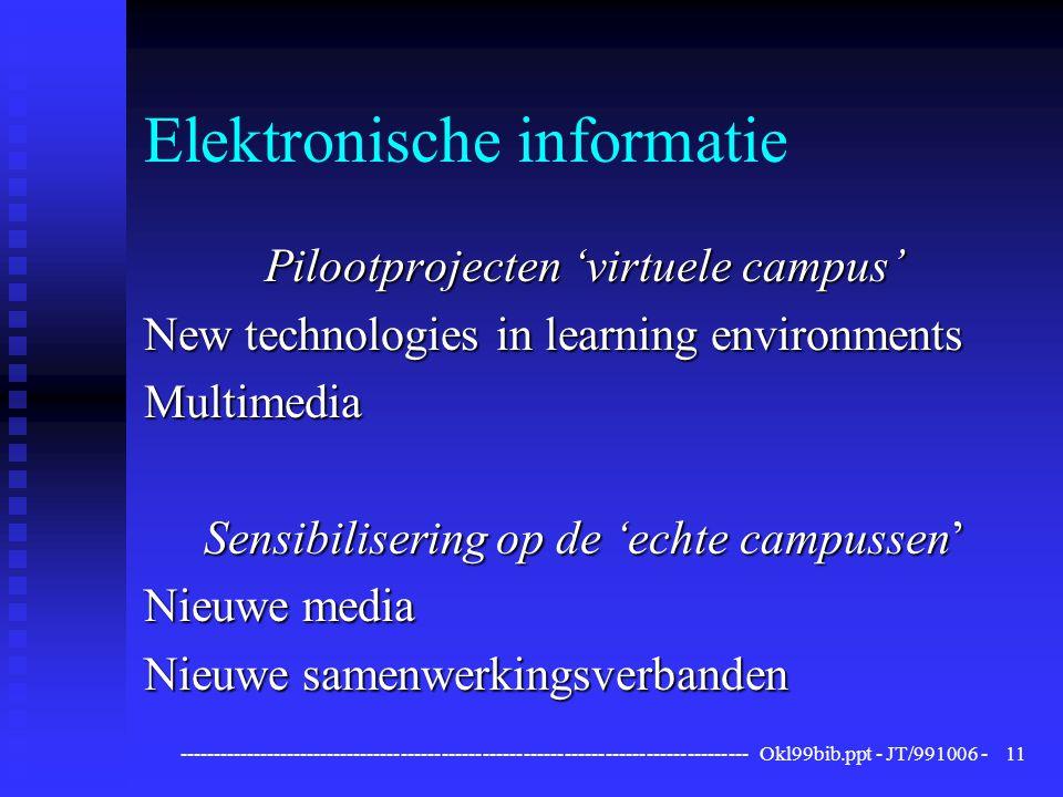 ------------------------------------------------------------------------------------ Okl99bib.ppt - JT/991006 -11 Elektronische informatie Pilootprojecten 'virtuele campus' New technologies in learning environments Multimedia Sensibilisering op de 'echte campussen' Nieuwe media Nieuwe samenwerkingsverbanden