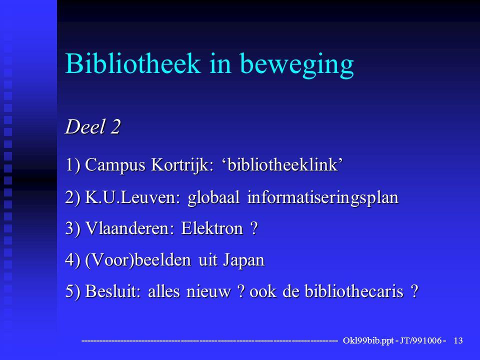 ------------------------------------------------------------------------------------ Okl99bib.ppt - JT/991006 -13 Bibliotheek in beweging Deel 2 1) Campus Kortrijk: 'bibliotheeklink' 2) K.U.Leuven: globaal informatiseringsplan 3) Vlaanderen: Elektron .