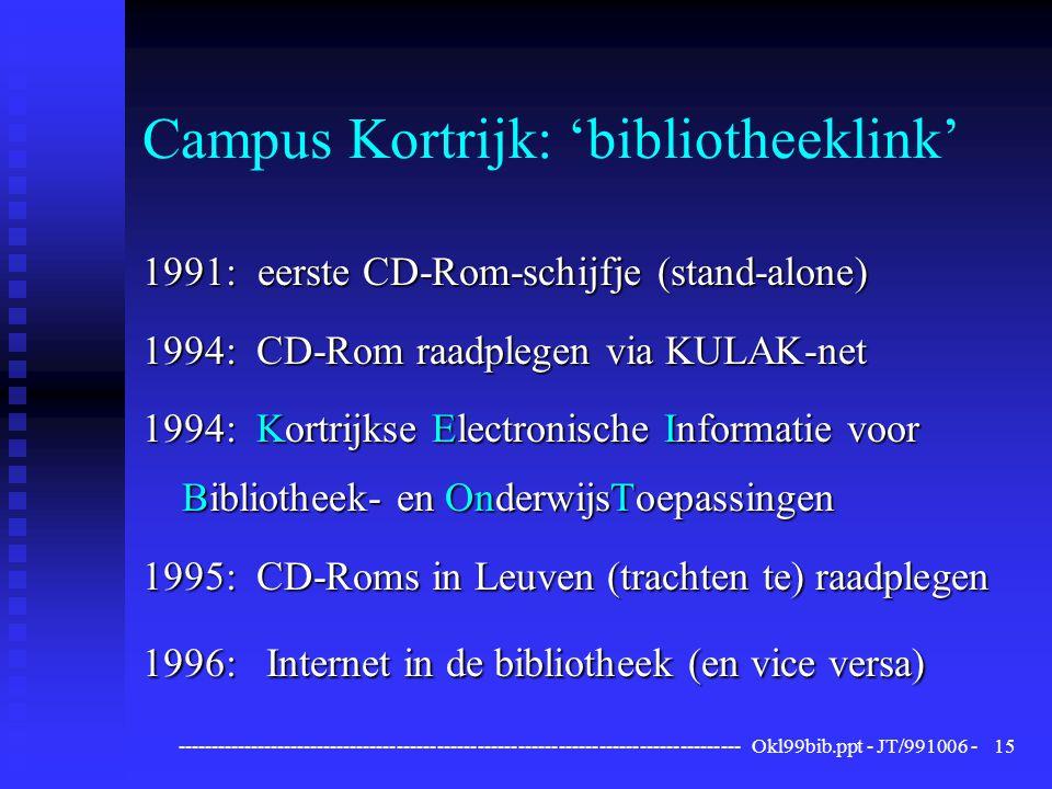 ------------------------------------------------------------------------------------ Okl99bib.ppt - JT/991006 -15 Campus Kortrijk: 'bibliotheeklink' 1991: eerste CD-Rom-schijfje (stand-alone) 1994: CD-Rom raadplegen via KULAK-net 1994: Kortrijkse Electronische Informatie voor Bibliotheek- en OnderwijsToepassingen 1995: CD-Roms in Leuven (trachten te) raadplegen 1996: Internet in de bibliotheek (en vice versa)