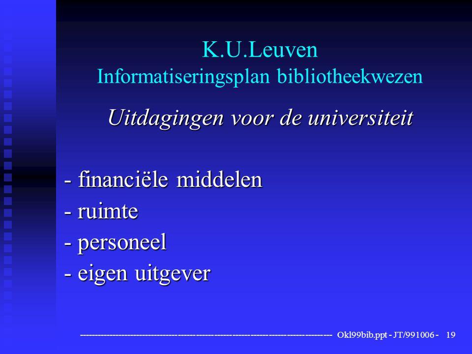------------------------------------------------------------------------------------ Okl99bib.ppt - JT/991006 -19 K.U.Leuven Informatiseringsplan bibliotheekwezen Uitdagingen voor de universiteit - financiële middelen - ruimte - personeel - eigen uitgever