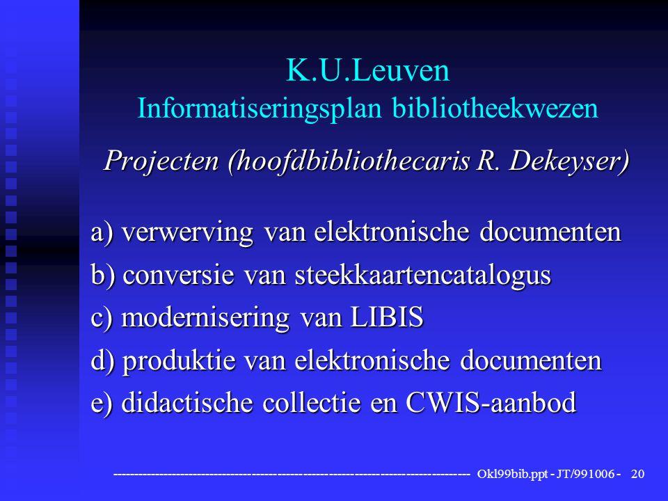 ------------------------------------------------------------------------------------ Okl99bib.ppt - JT/991006 -20 K.U.Leuven Informatiseringsplan bibliotheekwezen Projecten (hoofdbibliothecaris R.