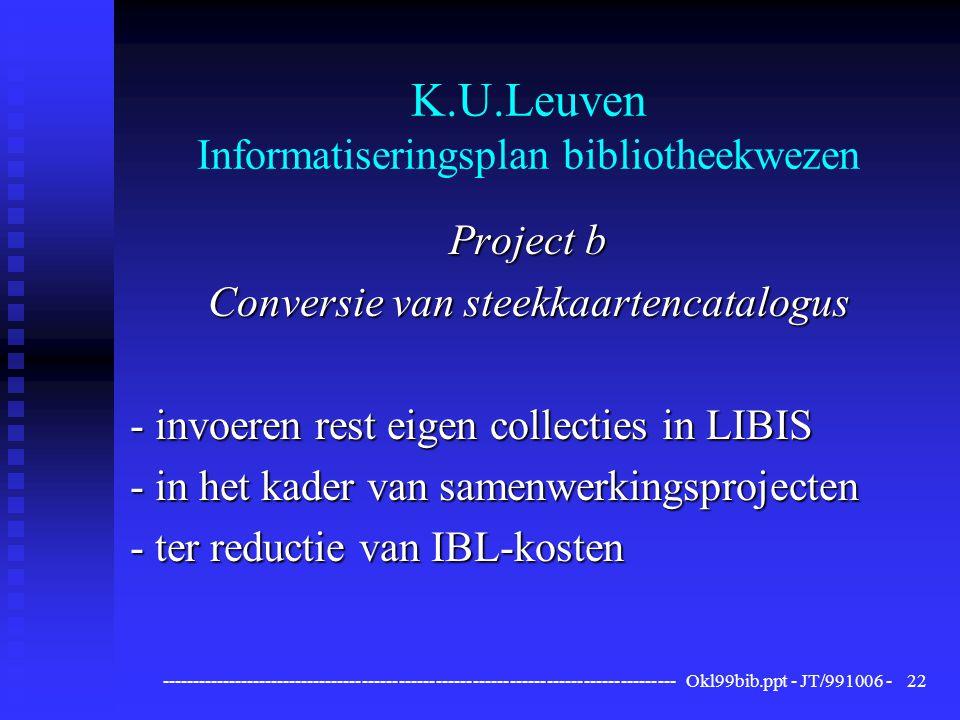 ------------------------------------------------------------------------------------ Okl99bib.ppt - JT/991006 -22 K.U.Leuven Informatiseringsplan bibliotheekwezen Project b Conversie van steekkaartencatalogus - invoeren rest eigen collecties in LIBIS - in het kader van samenwerkingsprojecten - ter reductie van IBL-kosten