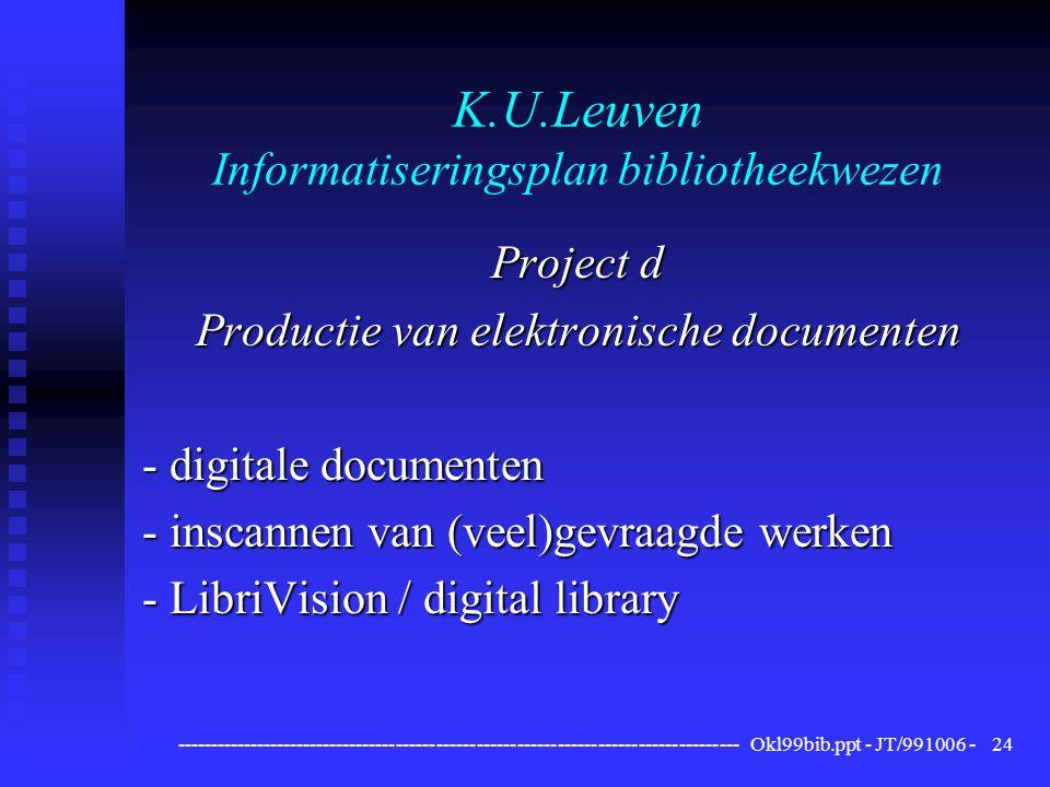 ------------------------------------------------------------------------------------ Okl99bib.ppt - JT/991006 -24 K.U.Leuven Informatiseringsplan bibliotheekwezen Project d Productie van elektronische documenten - digitale documenten - inscannen van (veel)gevraagde werken - LibriVision / digital library
