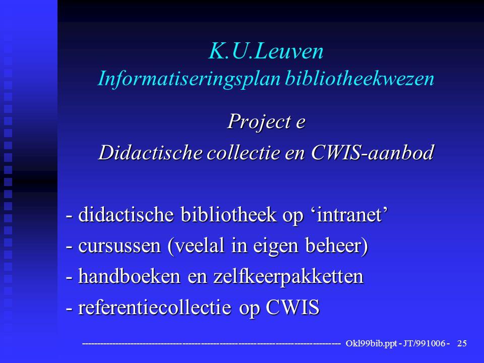 ------------------------------------------------------------------------------------ Okl99bib.ppt - JT/991006 -25 K.U.Leuven Informatiseringsplan bibliotheekwezen Project e Didactische collectie en CWIS-aanbod - didactische bibliotheek op 'intranet' - cursussen (veelal in eigen beheer) - handboeken en zelfkeerpakketten - referentiecollectie op CWIS