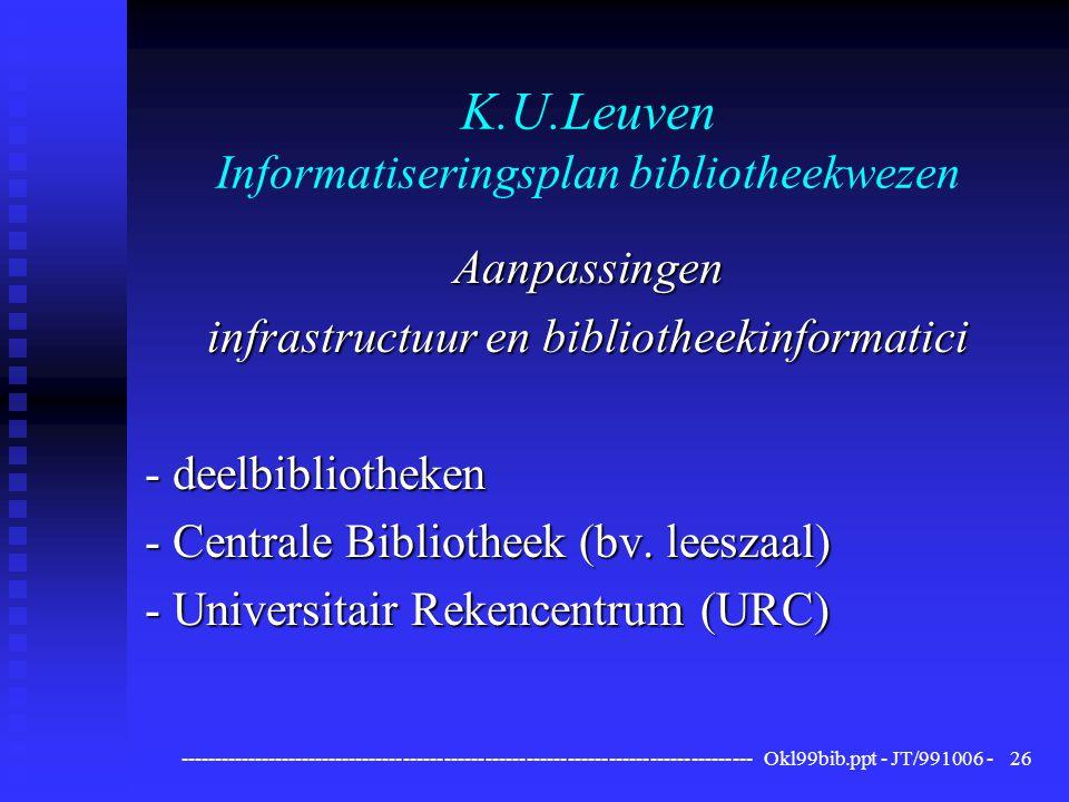 ------------------------------------------------------------------------------------ Okl99bib.ppt - JT/991006 -26 K.U.Leuven Informatiseringsplan bibliotheekwezen Aanpassingen infrastructuur en bibliotheekinformatici - deelbibliotheken - Centrale Bibliotheek (bv.