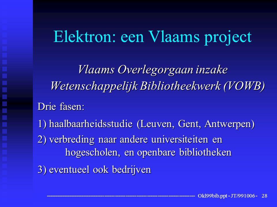 ------------------------------------------------------------------------------------ Okl99bib.ppt - JT/991006 -28 Elektron: een Vlaams project Vlaams Overlegorgaan inzake Wetenschappelijk Bibliotheekwerk (VOWB) Drie fasen: 1) haalbaarheidsstudie (Leuven, Gent, Antwerpen) 2) verbreding naar andere universiteiten en hogescholen, en openbare bibliotheken 3) eventueel ook bedrijven