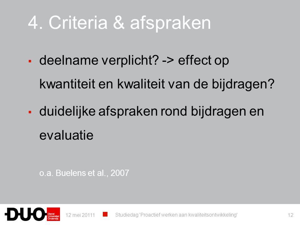 4. Criteria & afspraken ▪ deelname verplicht? -> effect op kwantiteit en kwaliteit van de bijdragen? ▪ duidelijke afspraken rond bijdragen en evaluati