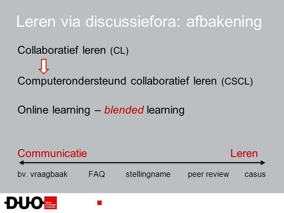 Leren via discussiefora: afbakening Collaboratief leren (CL) Computerondersteund collaboratief leren (CSCL) Online learning – blended learning Communi