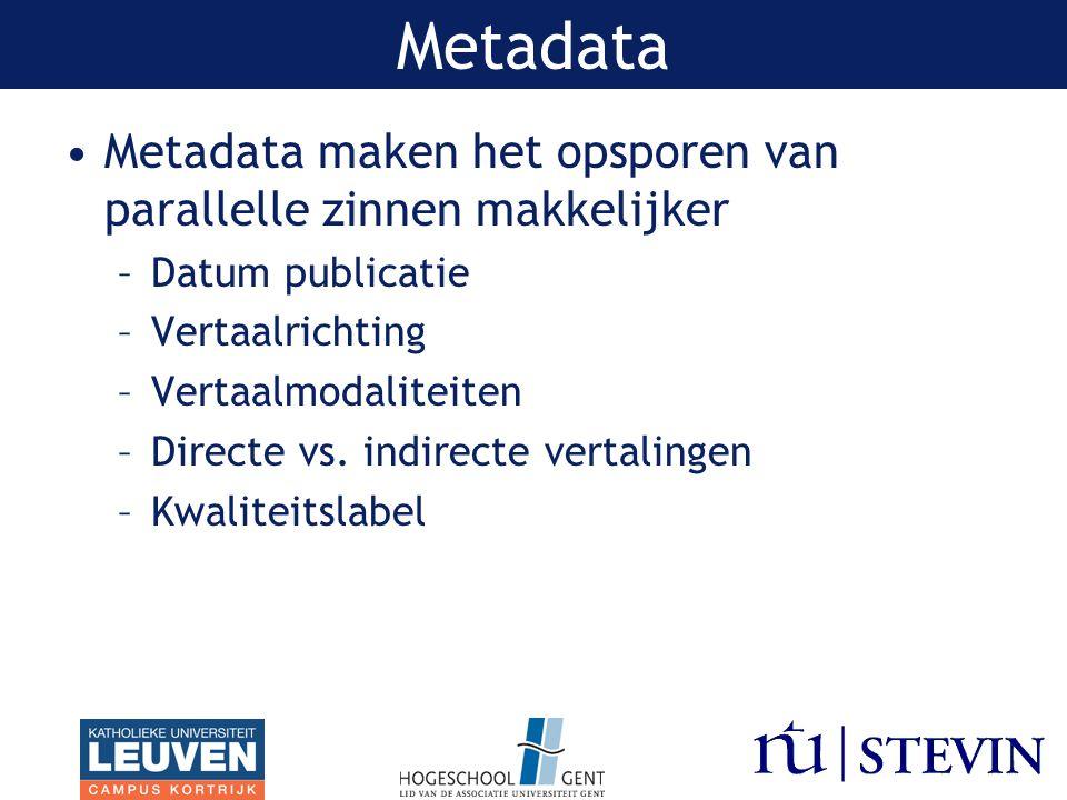 Metadata maken het opsporen van parallelle zinnen makkelijker –Datum publicatie –Vertaalrichting –Vertaalmodaliteiten –Directe vs.