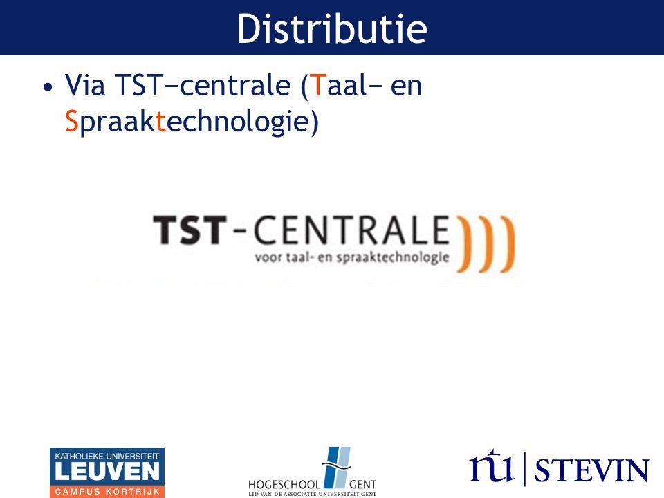 Via TST−centrale (Taal− en Spraaktechnologie) Distributie