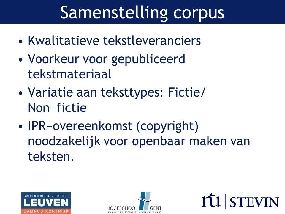 Kwalitatieve tekstleveranciers Voorkeur voor gepubliceerd tekstmateriaal Variatie aan teksttypes: Fictie/ Non−fictie IPR−overeenkomst (copyright) noodzakelijk voor openbaar maken van teksten.