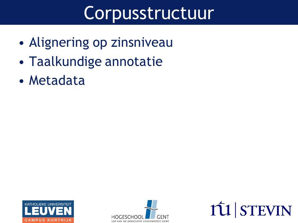Alignering op zinsniveau Taalkundige annotatie Metadata Corpusstructuur