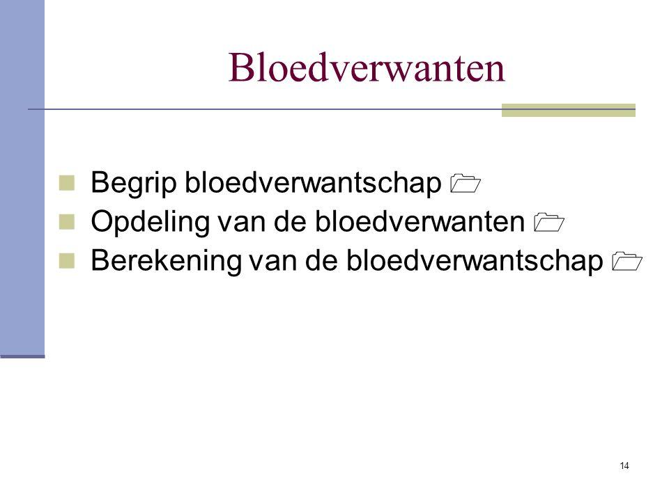 14 Bloedverwanten Begrip bloedverwantschap  Opdeling van de bloedverwanten  Berekening van de bloedverwantschap 