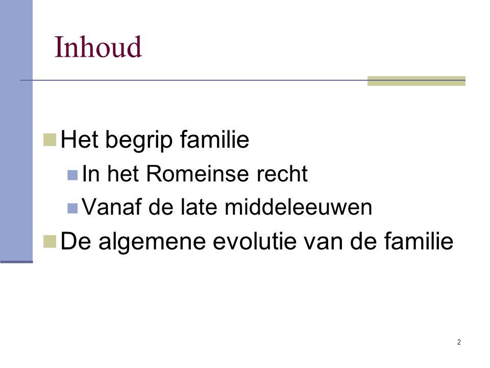 2 Inhoud Het begrip familie In het Romeinse recht Vanaf de late middeleeuwen De algemene evolutie van de familie