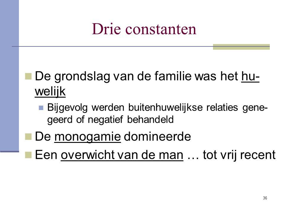 36 Drie constanten De grondslag van de familie was het hu- welijk Bijgevolg werden buitenhuwelijkse relaties gene- geerd of negatief behandeld De mono