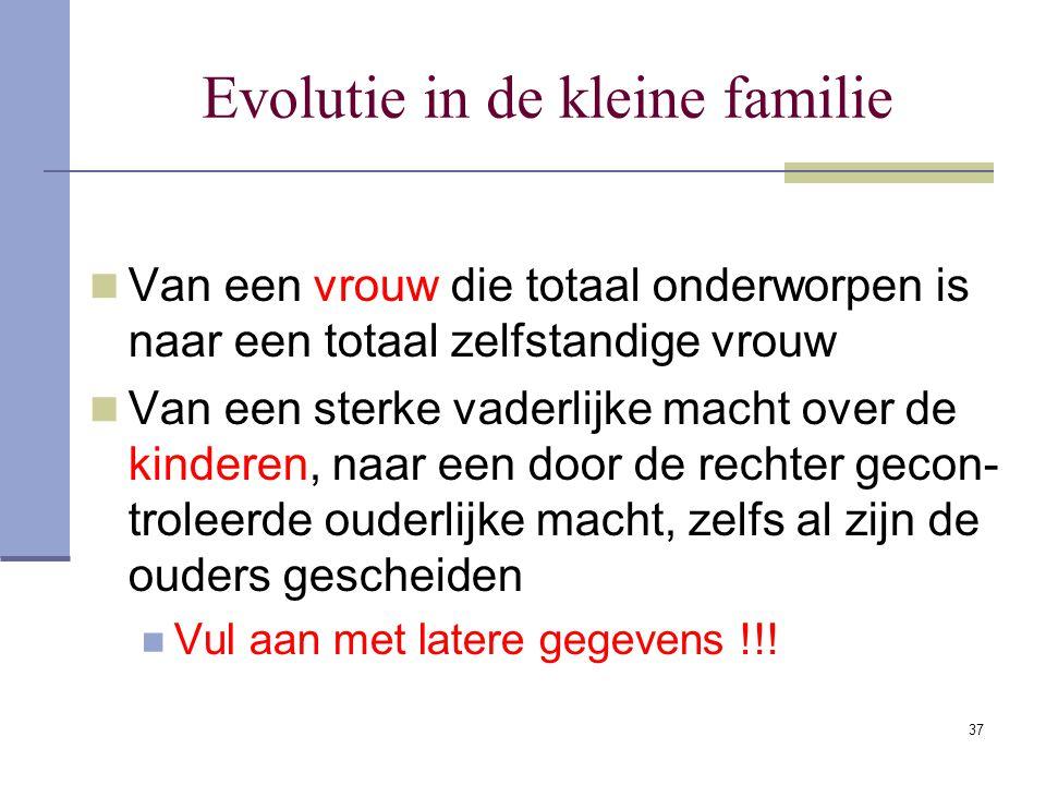 37 Evolutie in de kleine familie Van een vrouw die totaal onderworpen is naar een totaal zelfstandige vrouw Van een sterke vaderlijke macht over de ki