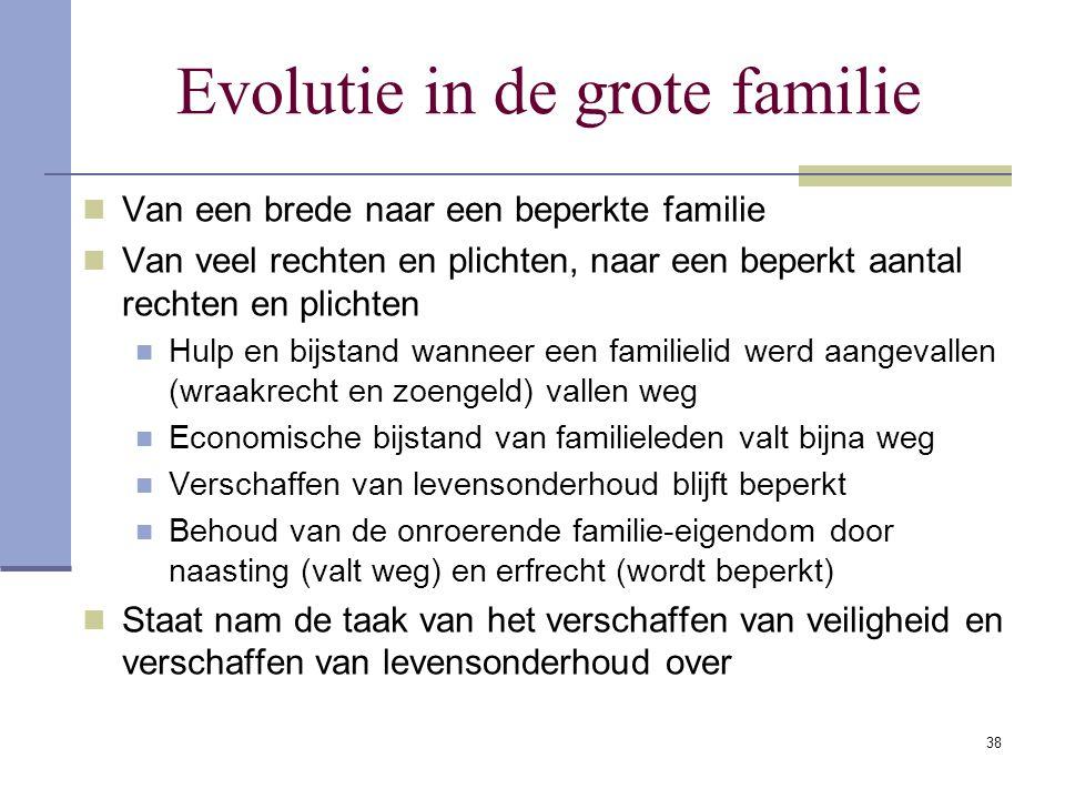 38 Evolutie in de grote familie Van een brede naar een beperkte familie Van veel rechten en plichten, naar een beperkt aantal rechten en plichten Hulp