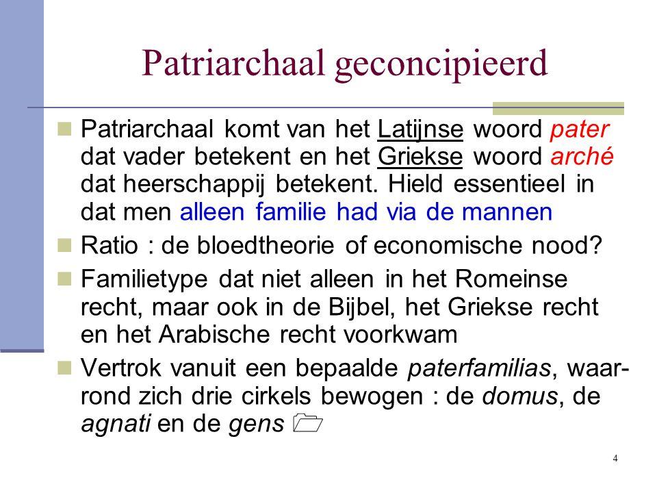 4 Patriarchaal geconcipieerd Patriarchaal komt van het Latijnse woord pater dat vader betekent en het Griekse woord arché dat heerschappij betekent. H