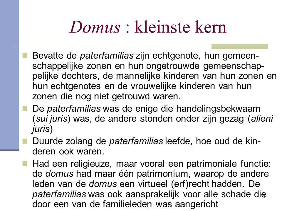 5 Domus : kleinste kern Bevatte de paterfamilias zijn echtgenote, hun gemeen- schappelijke zonen en hun ongetrouwde gemeenschap- pelijke dochters, de