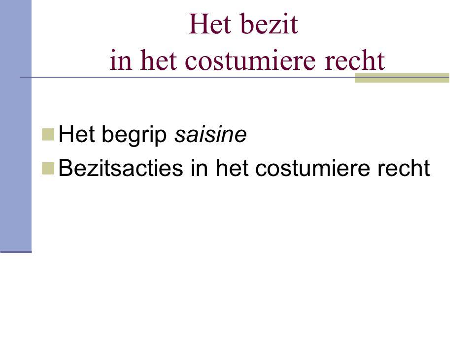 Het bezit in het costumiere recht Het begrip saisine Bezitsacties in het costumiere recht