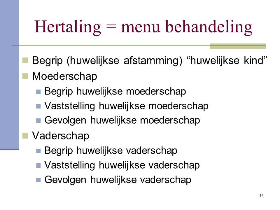 "17 Hertaling = menu behandeling Begrip (huwelijkse afstamming) ""huwelijkse kind"" Moederschap Begrip huwelijkse moederschap Vaststelling huwelijkse moe"