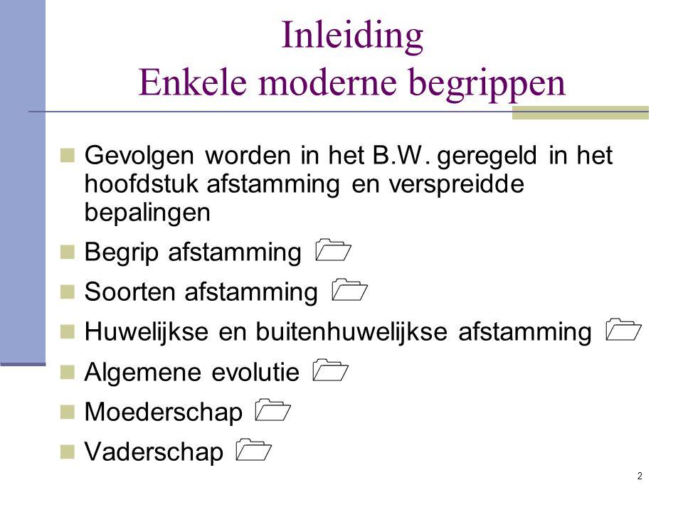 2 Inleiding Enkele moderne begrippen Gevolgen worden in het B.W. geregeld in het hoofdstuk afstamming en verspreidde bepalingen Begrip afstamming  So