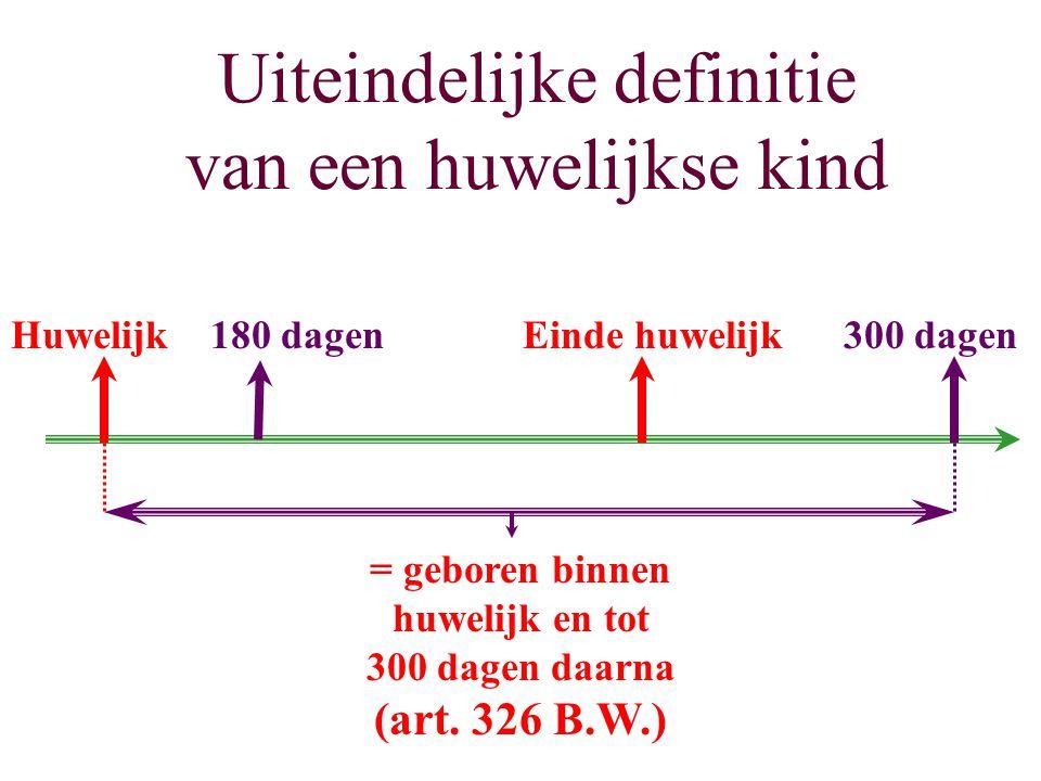 Uiteindelijke definitie van een huwelijkse kind Huwelijk180 dagenEinde huwelijk300 dagen = geboren binnen huwelijk en tot 300 dagen daarna (art. 326 B