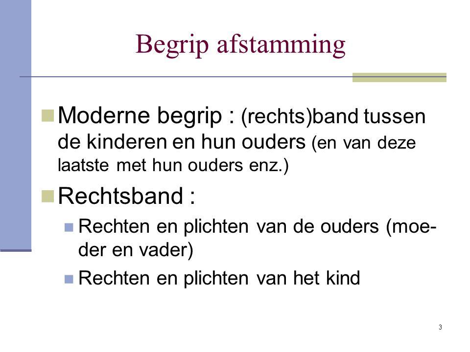 3 Begrip afstamming Moderne begrip : (rechts)band tussen de kinderen en hun ouders (en van deze laatste met hun ouders enz.) Rechtsband : Rechten en p