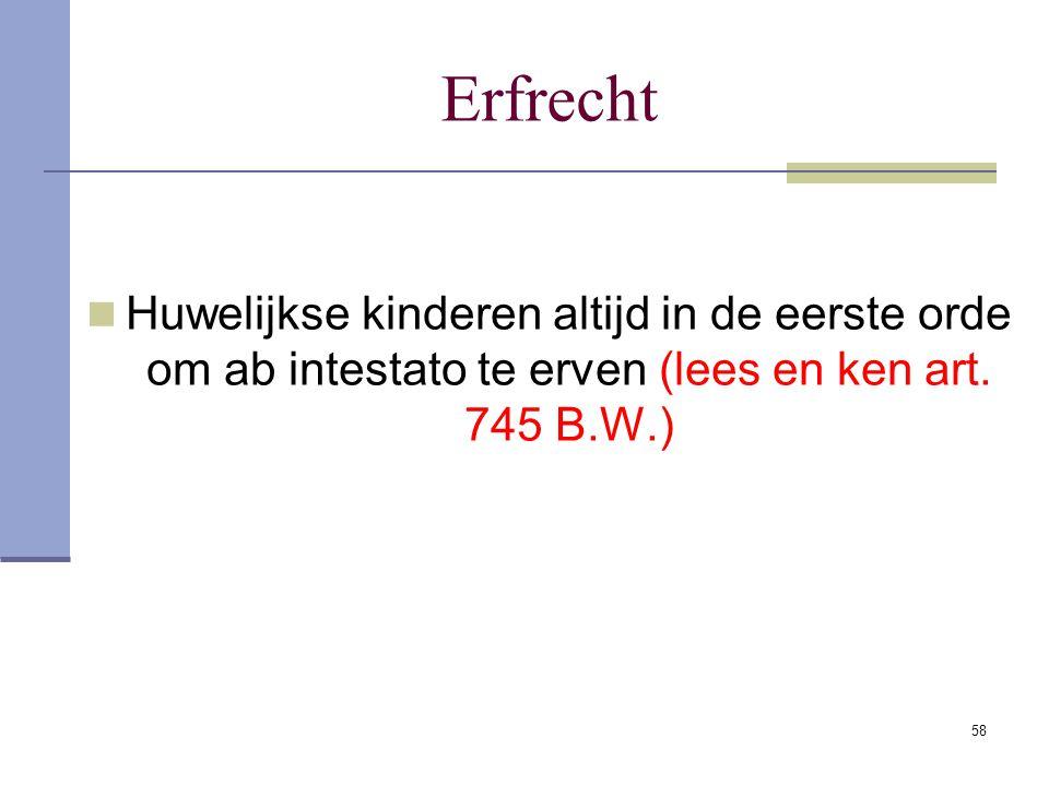 58 Erfrecht Huwelijkse kinderen altijd in de eerste orde om ab intestato te erven (lees en ken art. 745 B.W.)