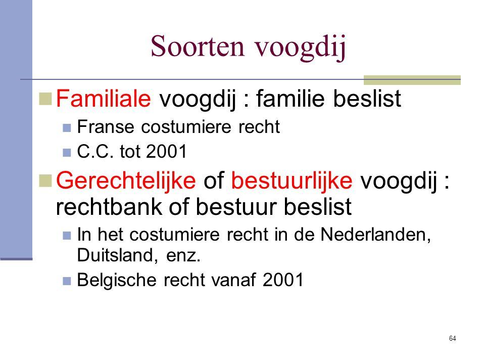 64 Soorten voogdij Familiale voogdij : familie beslist Franse costumiere recht C.C. tot 2001 Gerechtelijke of bestuurlijke voogdij : rechtbank of best