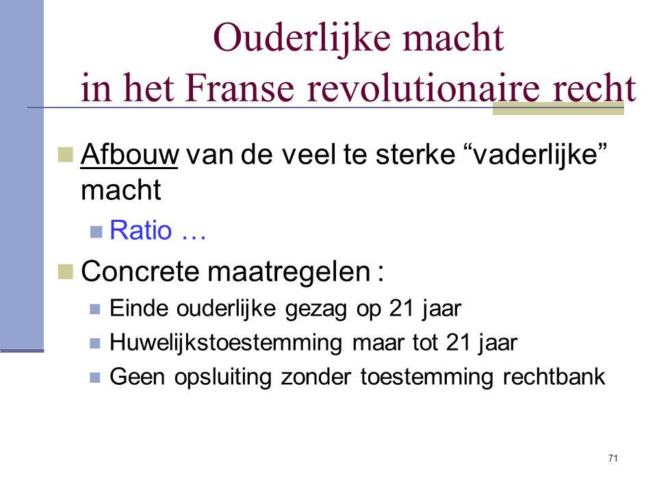 """71 Ouderlijke macht in het Franse revolutionaire recht Afbouw van de veel te sterke """"vaderlijke"""" macht Ratio … Concrete maatregelen : Einde ouderlijke"""