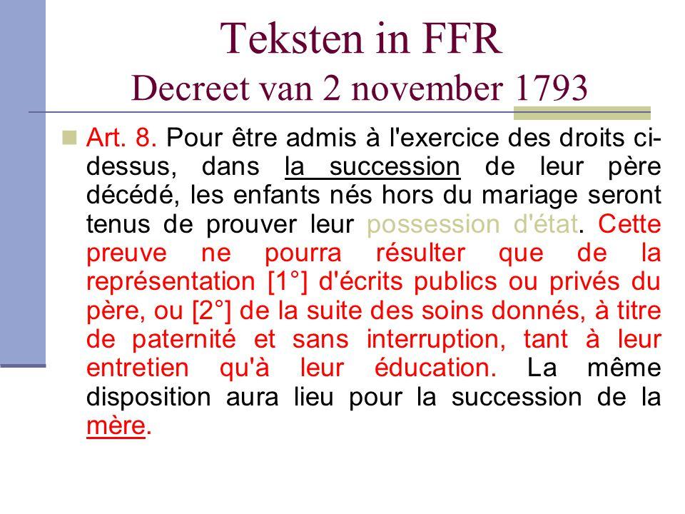 Teksten in FFR Decreet van 2 november 1793 Art. 8. Pour être admis à l'exercice des droits ci- dessus, dans la succession de leur père décédé, les enf