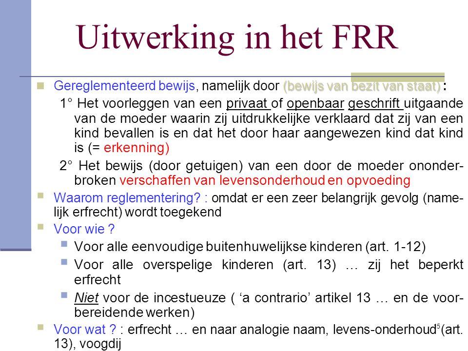 Uitwerking in het FRR 15