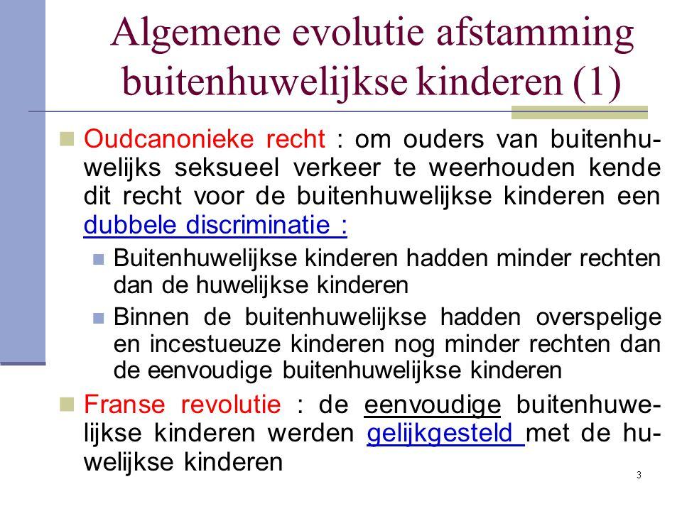 Algemene evolutie afstamming buitenhuwelijkse kinderen (1) Oudcanonieke recht : om ouders van buitenhu- welijks seksueel verkeer te weerhouden kende d