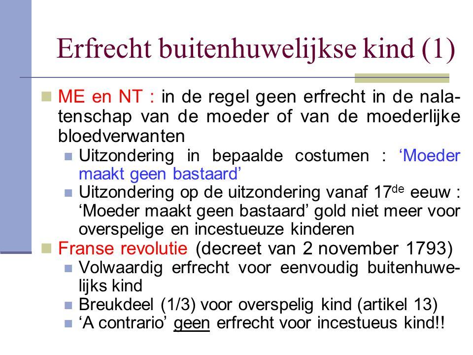 Erfrecht buitenhuwelijkse kind (1) ME en NT : in de regel geen erfrecht in de nala- tenschap van de moeder of van de moederlijke bloedverwanten Uitzon