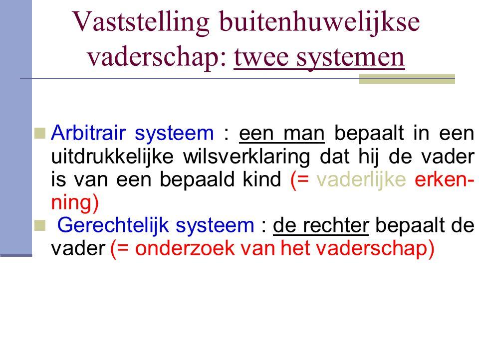 Vaststelling buitenhuwelijkse vaderschap: twee systemen Arbitrair systeem : een man bepaalt in een uitdrukkelijke wilsverklaring dat hij de vader is v