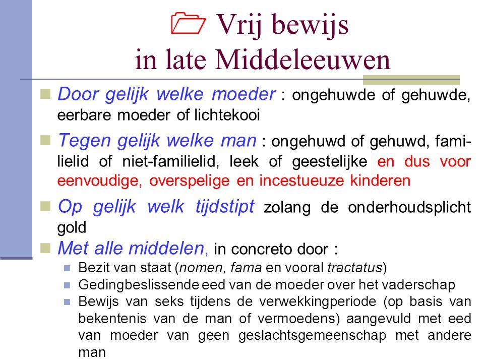  Vrij bewijs in late Middeleeuwen Door gelijk welke moeder : ongehuwde of gehuwde, eerbare moeder of lichtekooi Tegen gelijk welke man : ongehuwd of