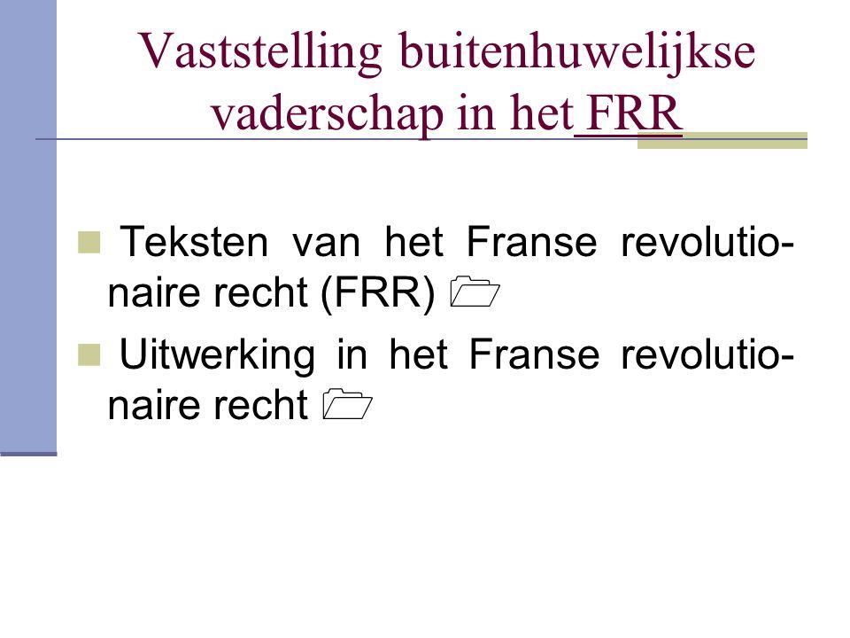 Vaststelling buitenhuwelijkse vaderschap in het FRR Teksten van het Franse revolutio- naire recht (FRR)  Uitwerking in het Franse revolutio- naire re