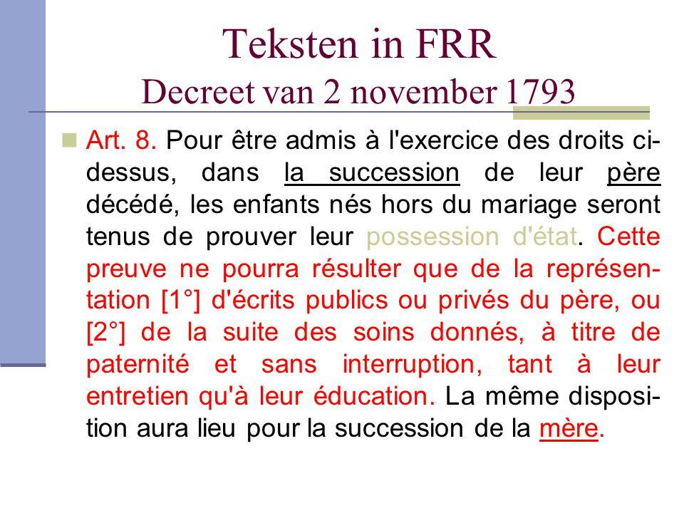 Teksten in FRR Decreet van 2 november 1793 Art. 8. Pour être admis à l'exercice des droits ci- dessus, dans la succession de leur père décédé, les enf