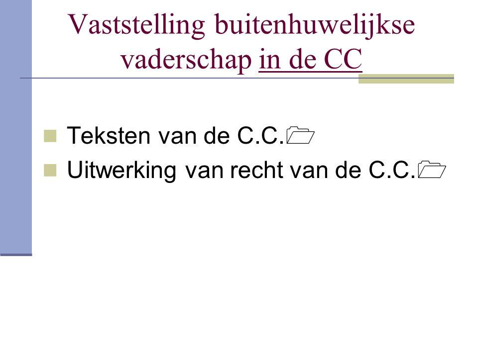 Vaststelling buitenhuwelijkse vaderschap in de CC Teksten van de C.C.  Uitwerking van recht van de C.C. 