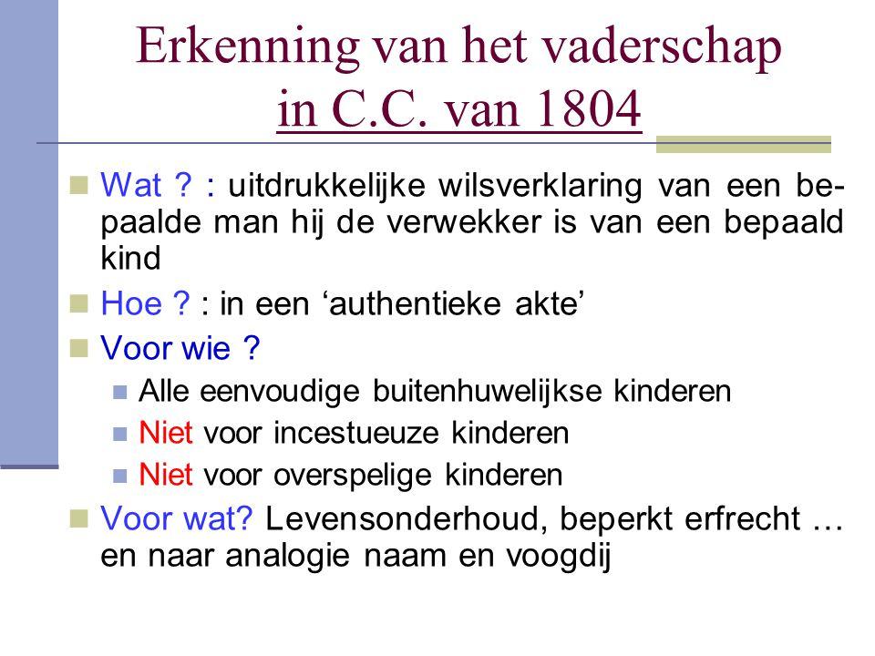 Erkenning van het vaderschap in C.C. van 1804 Wat ? : uitdrukkelijke wilsverklaring van een be- paalde man hij de verwekker is van een bepaald kind Ho