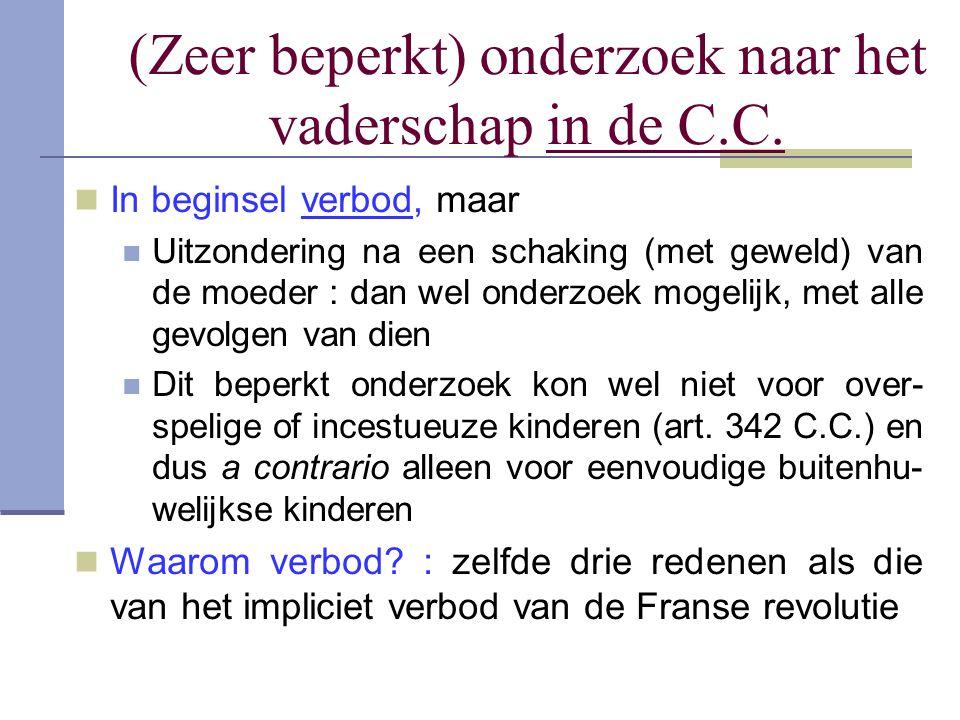 (Zeer beperkt) onderzoek naar het vaderschap in de C.C. In beginsel verbod, maar Uitzondering na een schaking (met geweld) van de moeder : dan wel ond